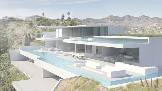 Hollywood Hills Residence with Two Levels of Pools (4 pics)