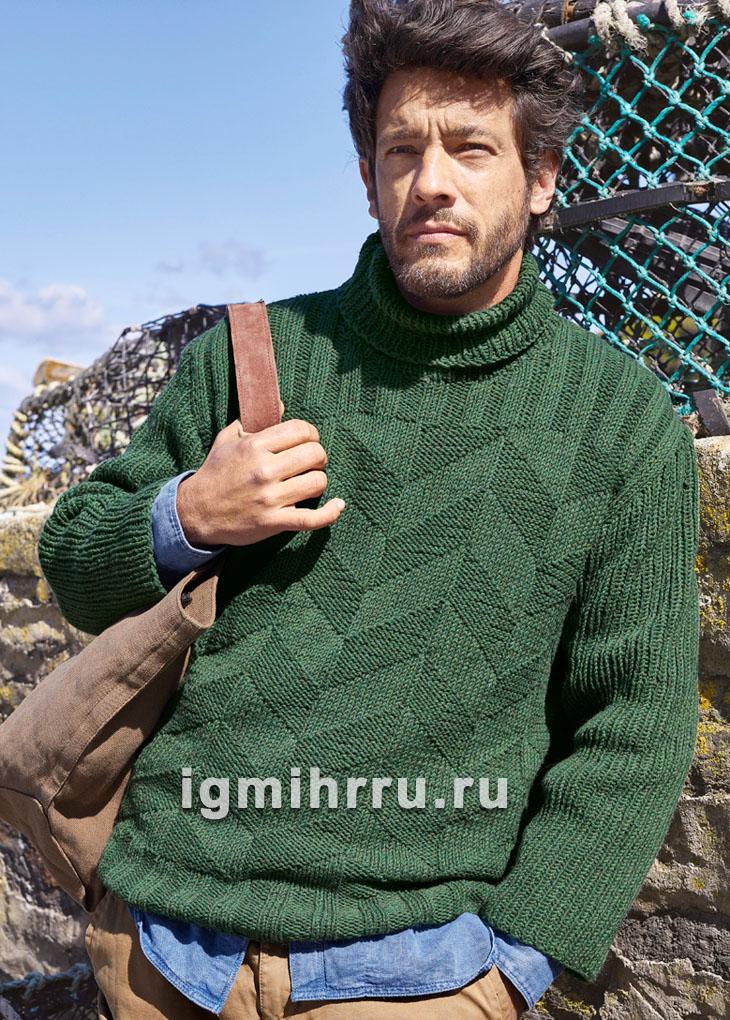 Темно-зеленый мужской свитер с зигзагообразным узором. Вязание спицами
