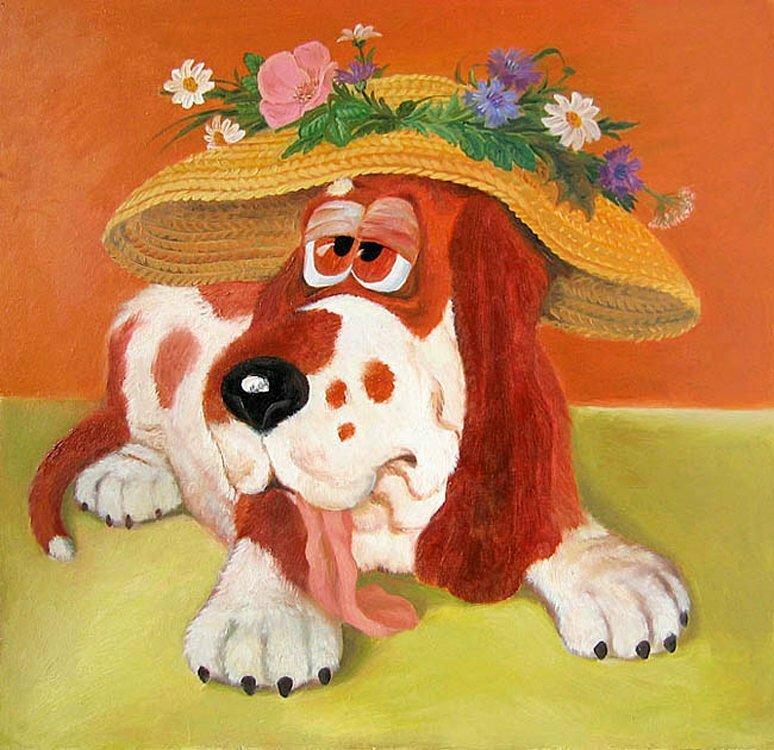 Два годика, смешной детский рисунок собаки