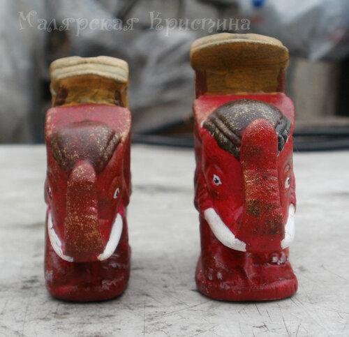 фарфоровые красные слоны