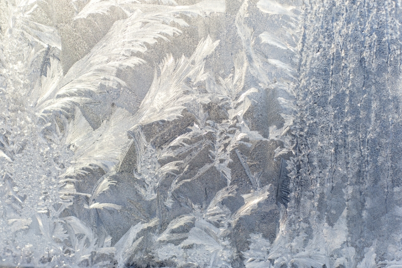 Frosty pattern on glass