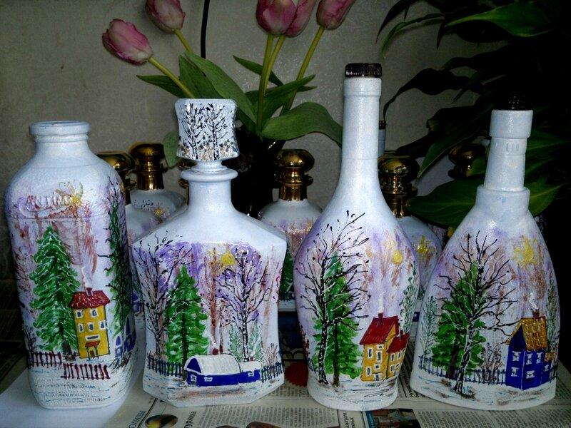 Фото разрисовать бутылку акриловыми красками