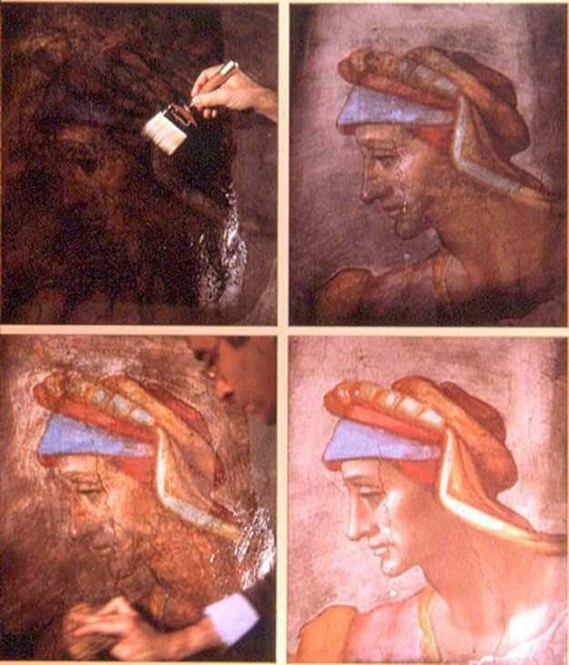 The impressive results when in the 1980's the Sistine Chapel's ceiling was cleaned and restored to remove centuries of grime, dirt and grease.jpg