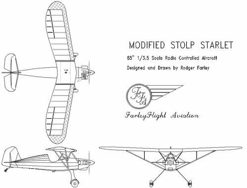 Чертеж модели самолёта Stolp Starlet 1/3.5