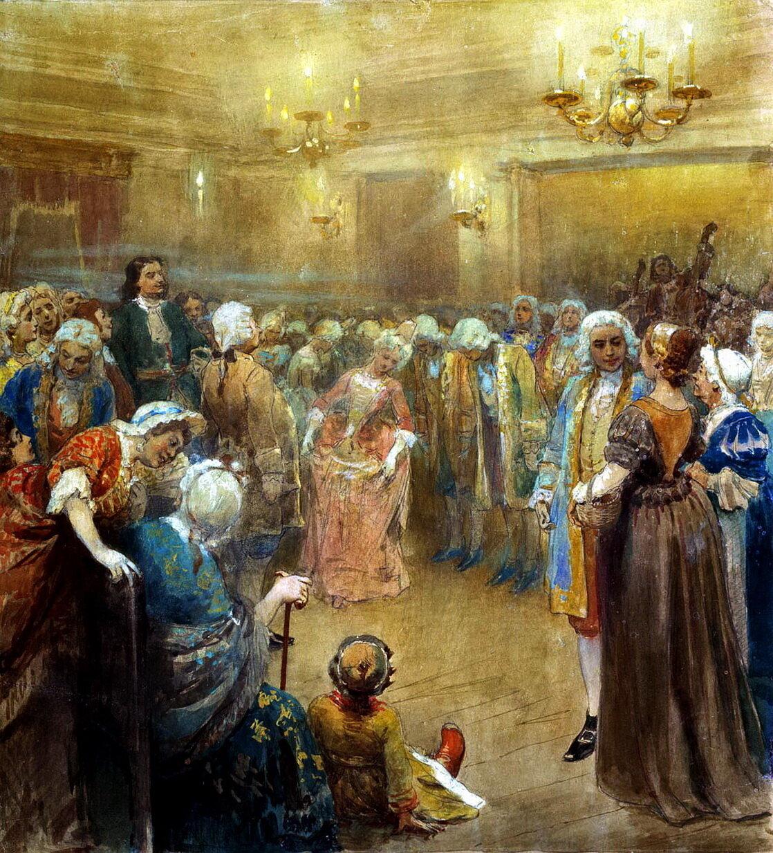 Клавдий Васильевич Лебедев (1852-1916). Ассамблея при дворе Петра I