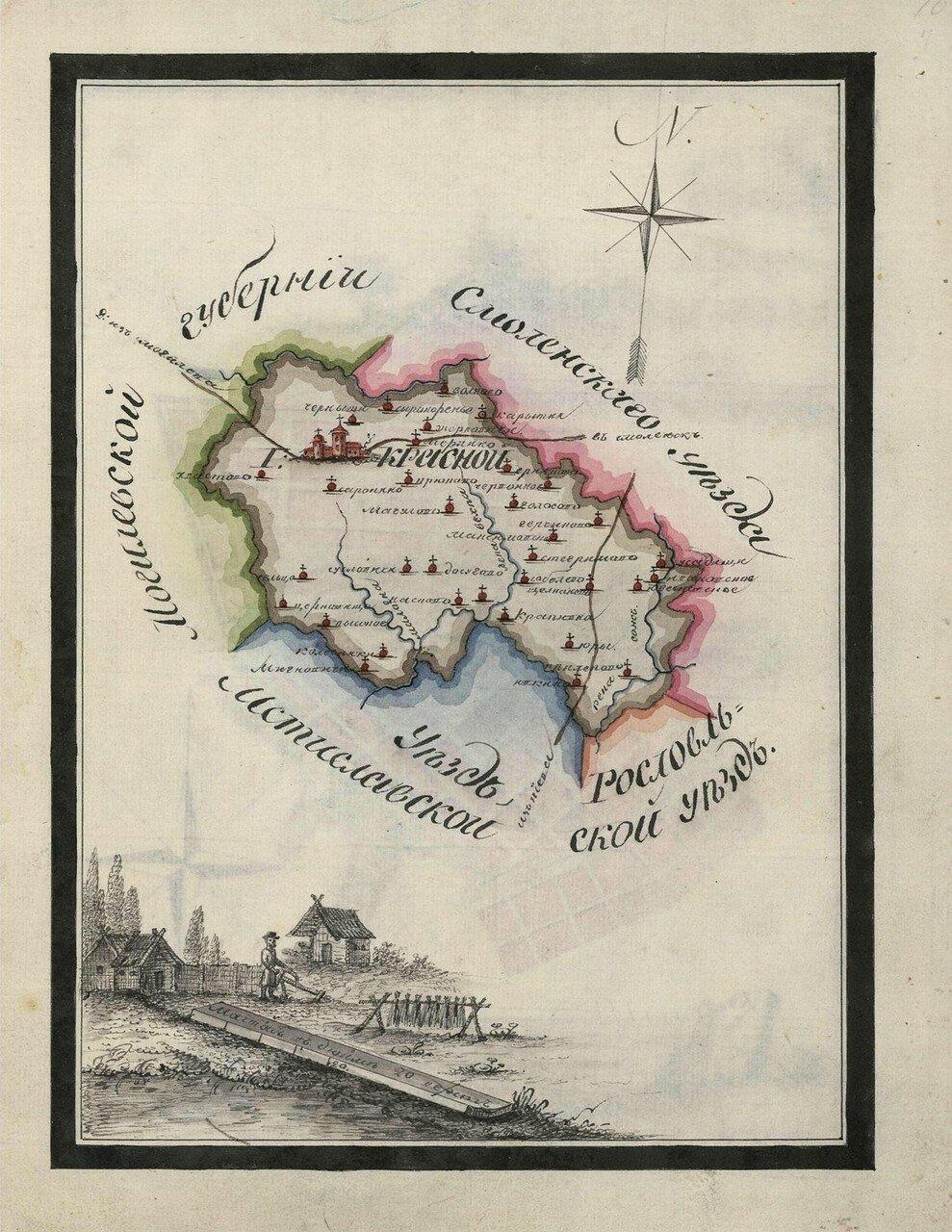 Карта Краснинского уезда