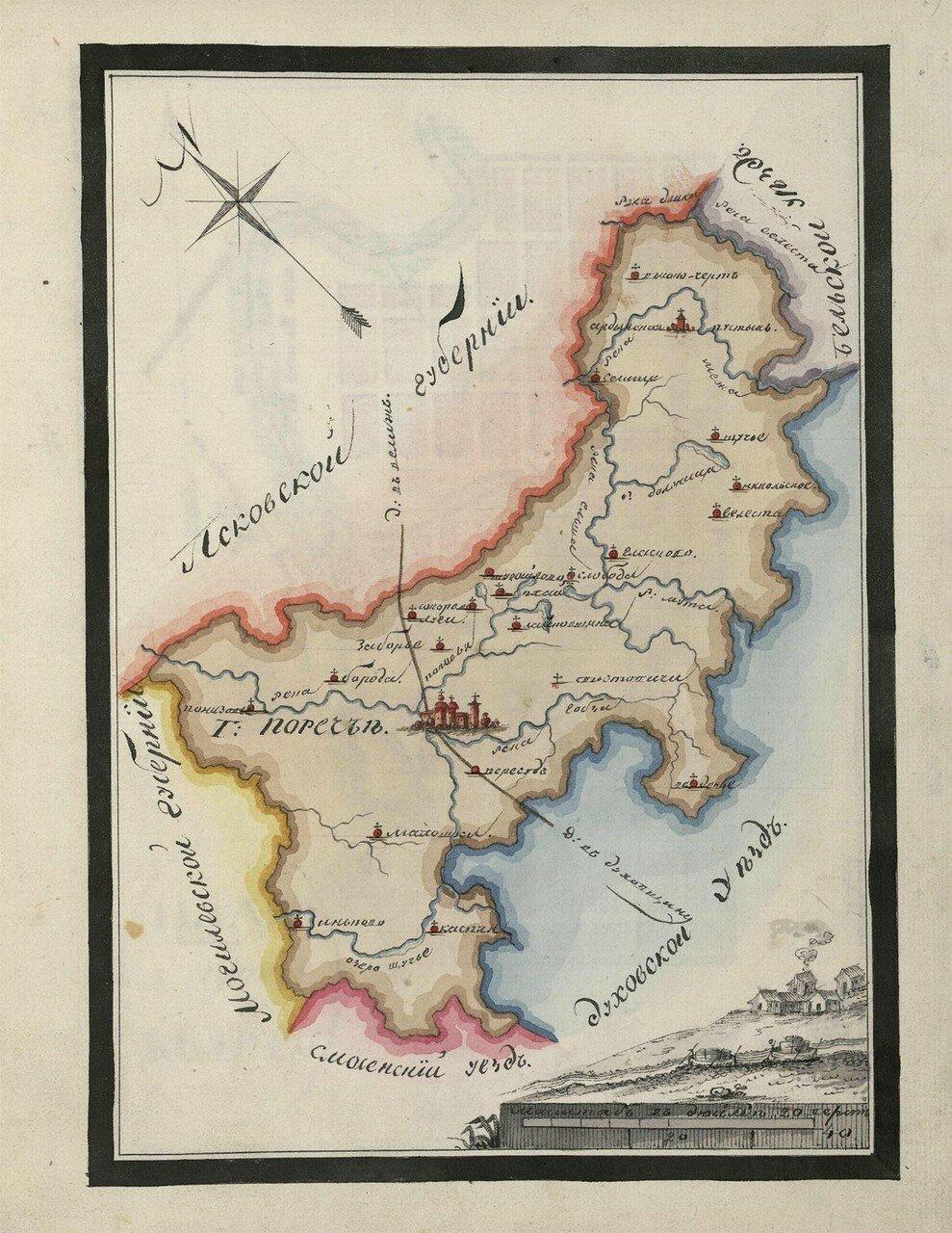 Карта Пореченского уезда