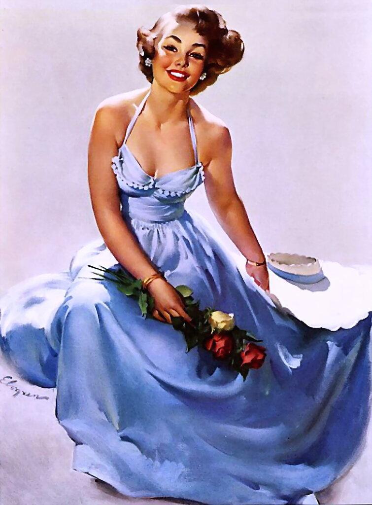 Gil Elvgren (1914-1980) - True to You (Sitting Pretty) 1950
