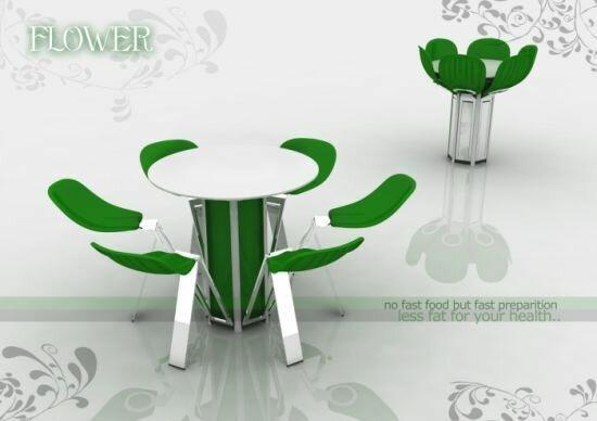 Необычный стол в виде цветка