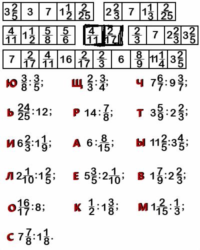 примеры на деление дробей