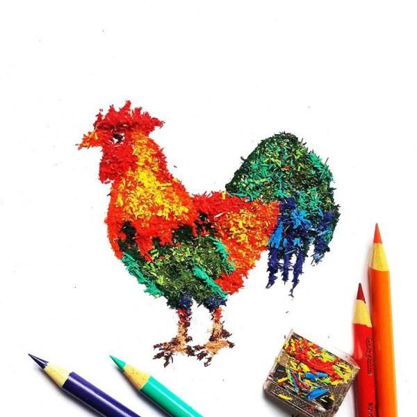Миниатюры из разноцветной грифельной стружки