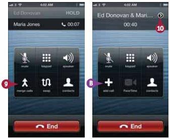 Нажмите «Соединить» (Merge calls). iPhone соединяет звонки и выводит надпись «Конференция» (Conference) в верхней части экрана