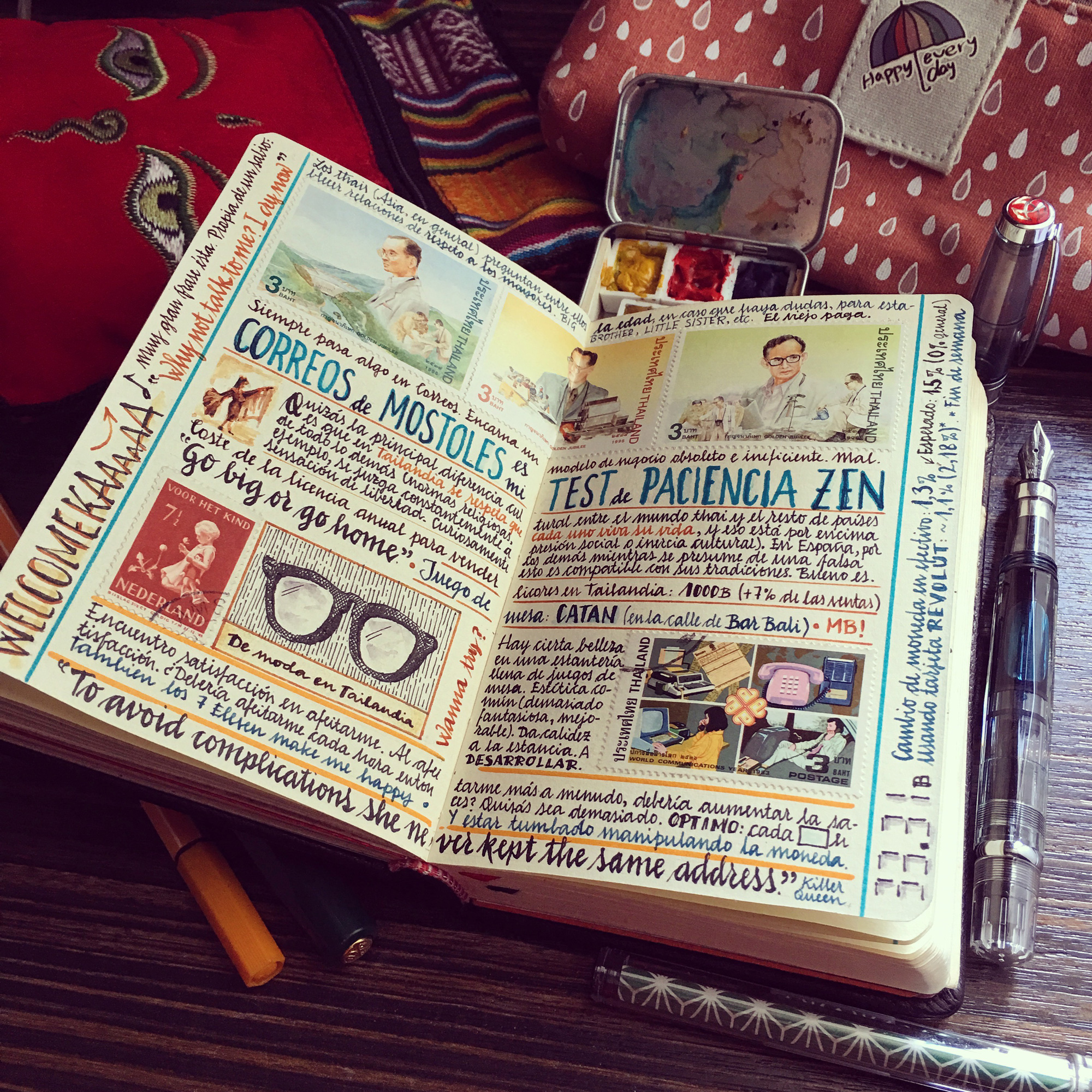Handmade Sketchbooks Teeming with Colorful Calligraphy, Diagrams, Sketches, and Travel Ephemera by Jose Naranja