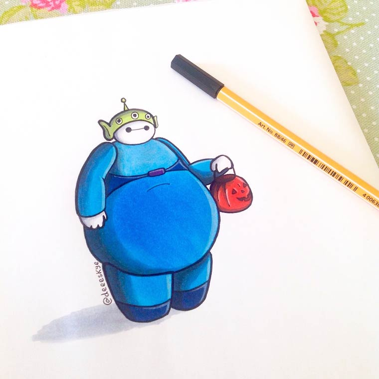 When Baymax meets the other famous characters from Disney