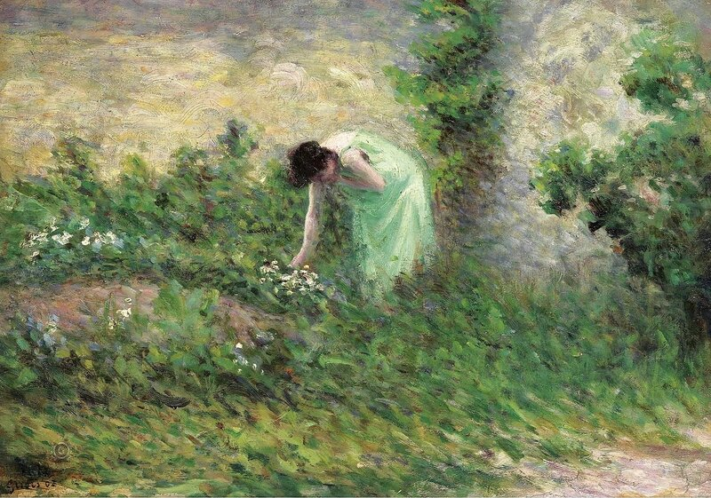 Люс, Максимильен - Gisors, Woman Picking Flowers, 1902