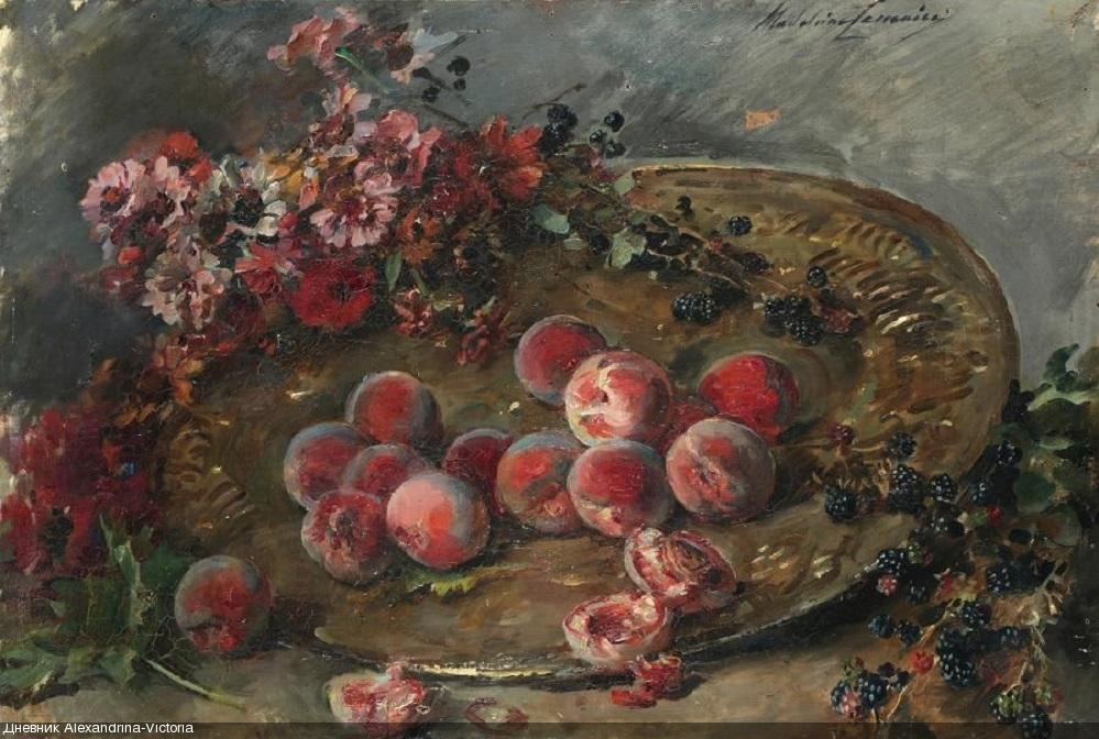 Coupe de fruits et de fleurs