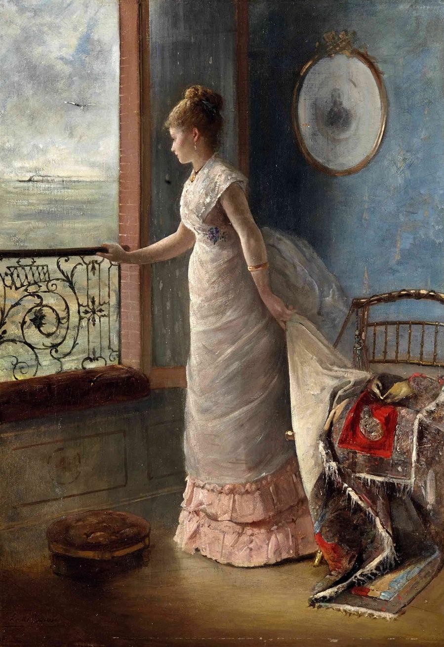 An elegant lady at a window.