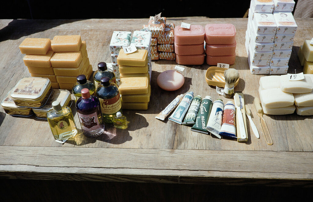 Russia, toiletries for sale by street vendor in Moscow