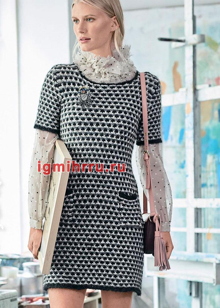 Шерстяное платье с полосами из снятых петель. Вязание спицами