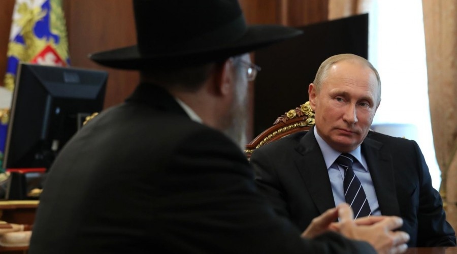 Владимир Путин встретился с главным раввином России Берлом Лазаром и президентом Федерации еврейских общин Александром Бородой