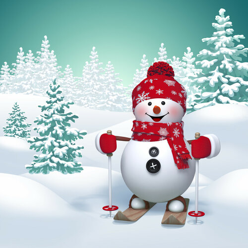 3d funny snowman skiing, winter nature background
