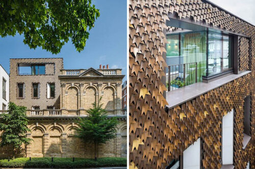 Декор фасада здания виноградными листьями