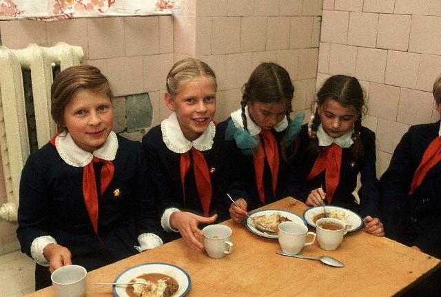 Schoolgirls Eating Lunch