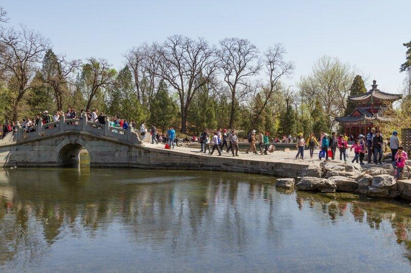 Беседка и мост, парк Сяншань, Пекин