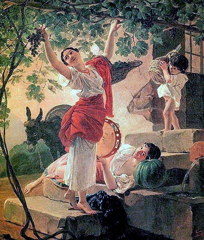 Карл Брюллов, живопись, Девушка, собирающая виноград