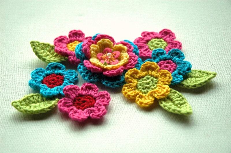 Вязание крючком аппликация цветы 30