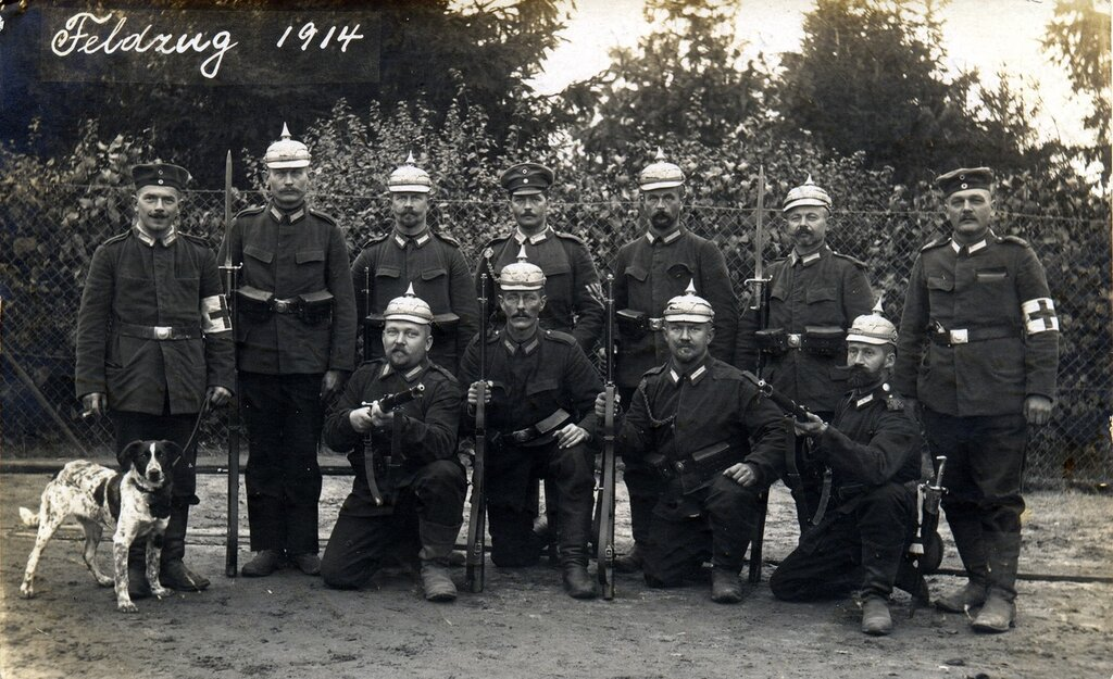 Prussian soldiers (and canine) of Landwehr Infantry Regiment 8