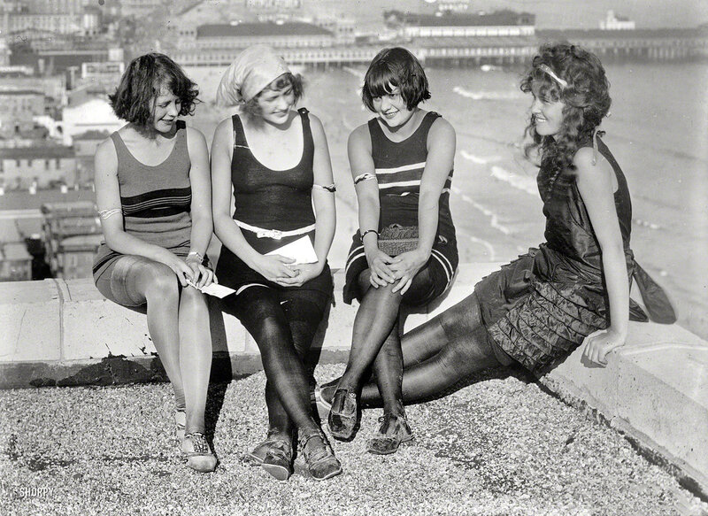 Atlantic City circa 1922. Four young ladies on a roof
