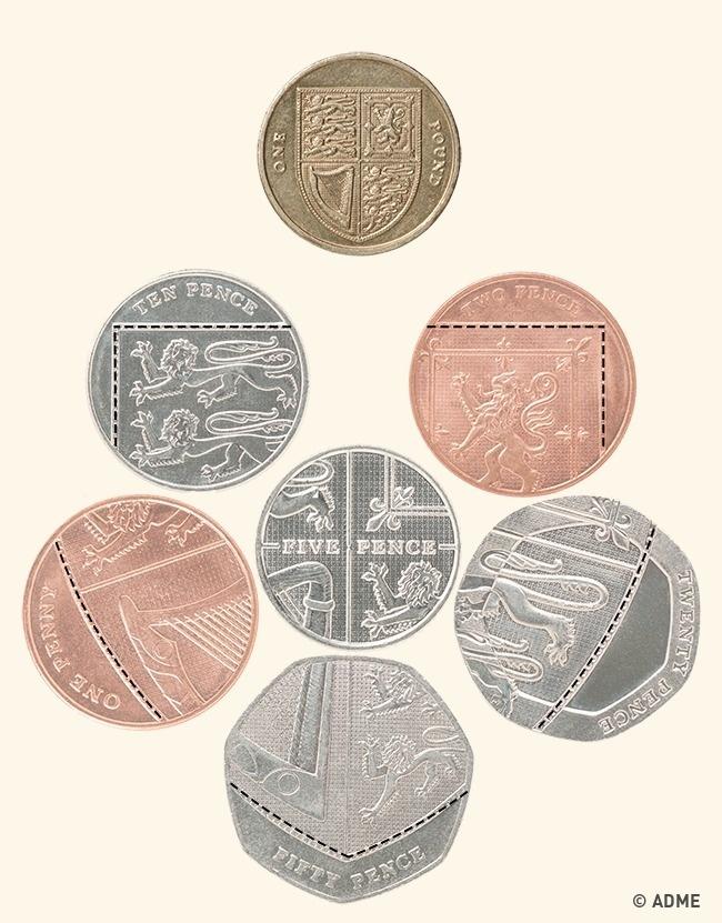 © depositphotos  Если сложить британские монетки номиналом 1, 2, 5,10, 20, 50пенсов, тоони о