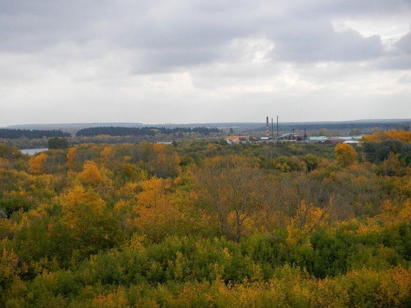 По-осеннему жёлтые деревья на берегу Вятки и завод в Вересниках вдали Dscn4670
