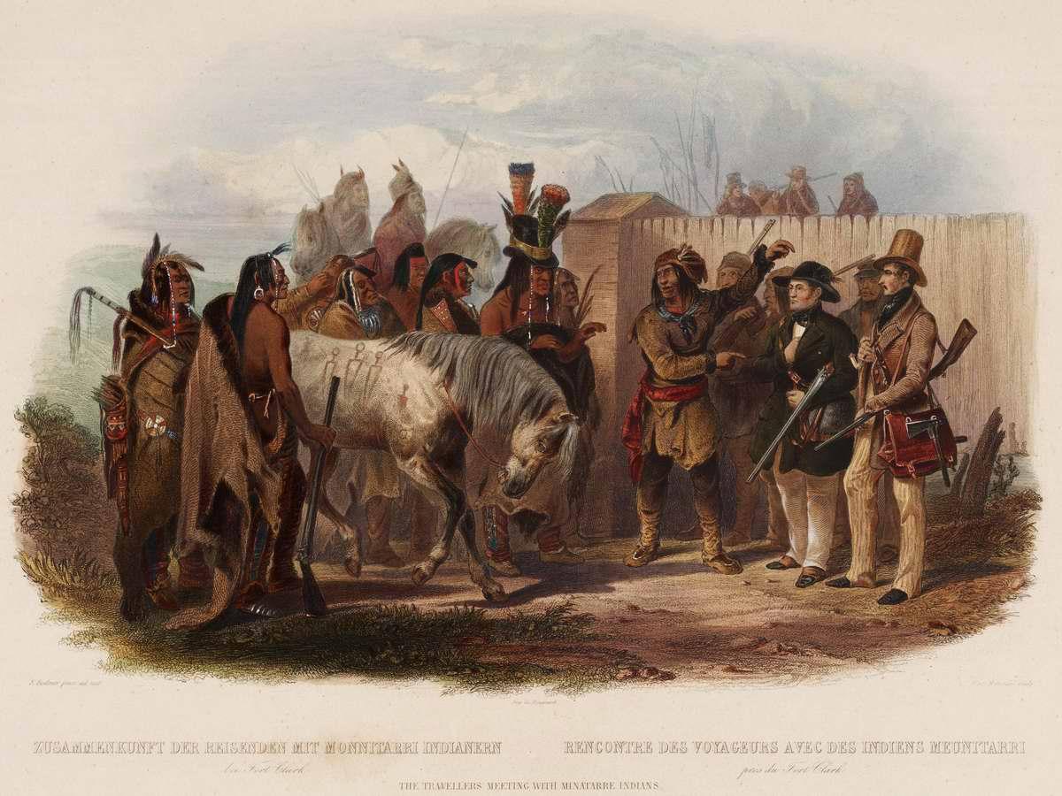Встреча путешественников с индейцами племени Minatarre в окрестностях Форта Кларк - Karl Bodmer