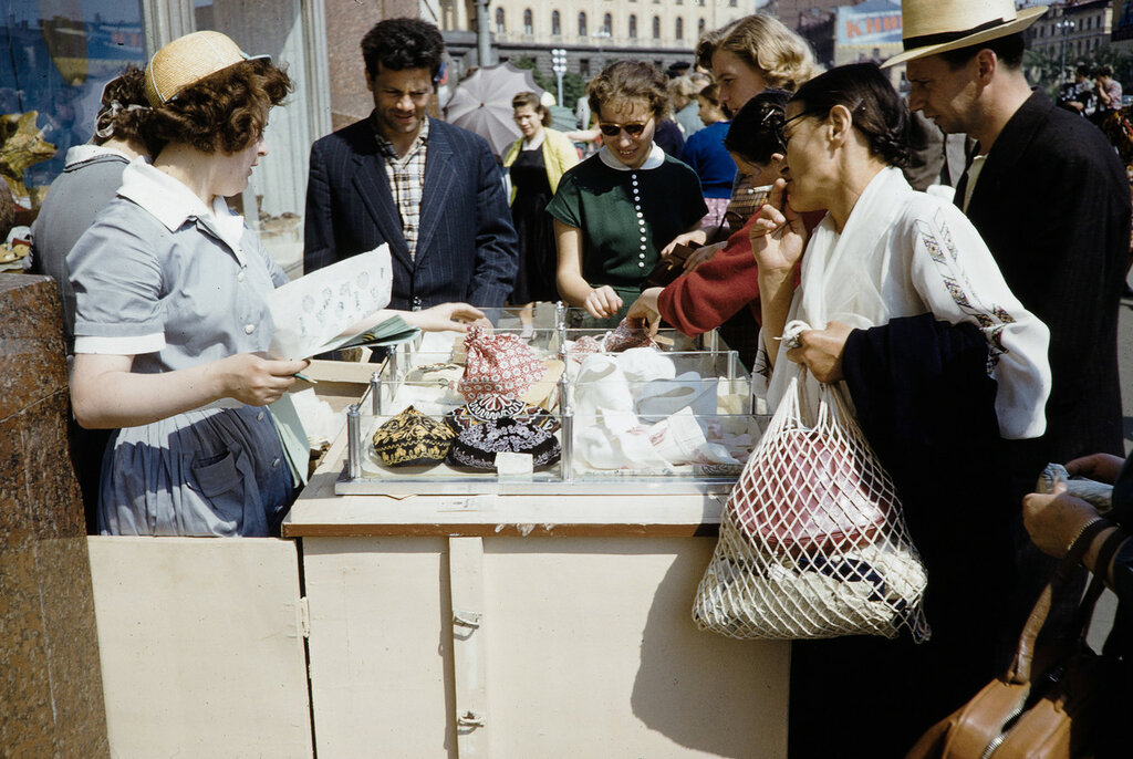 Russia, street vendor selling goods in Moscow