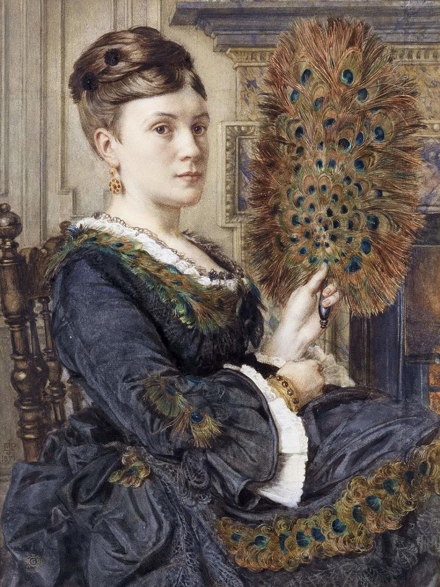 The Peacock Fan Portrait of Elizabeth Courtauld, 1871.