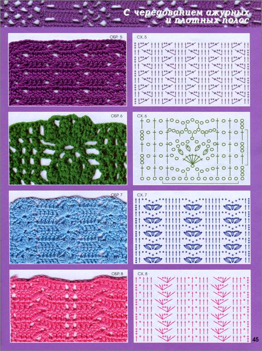Схемы ажурных узоров вязание крючком