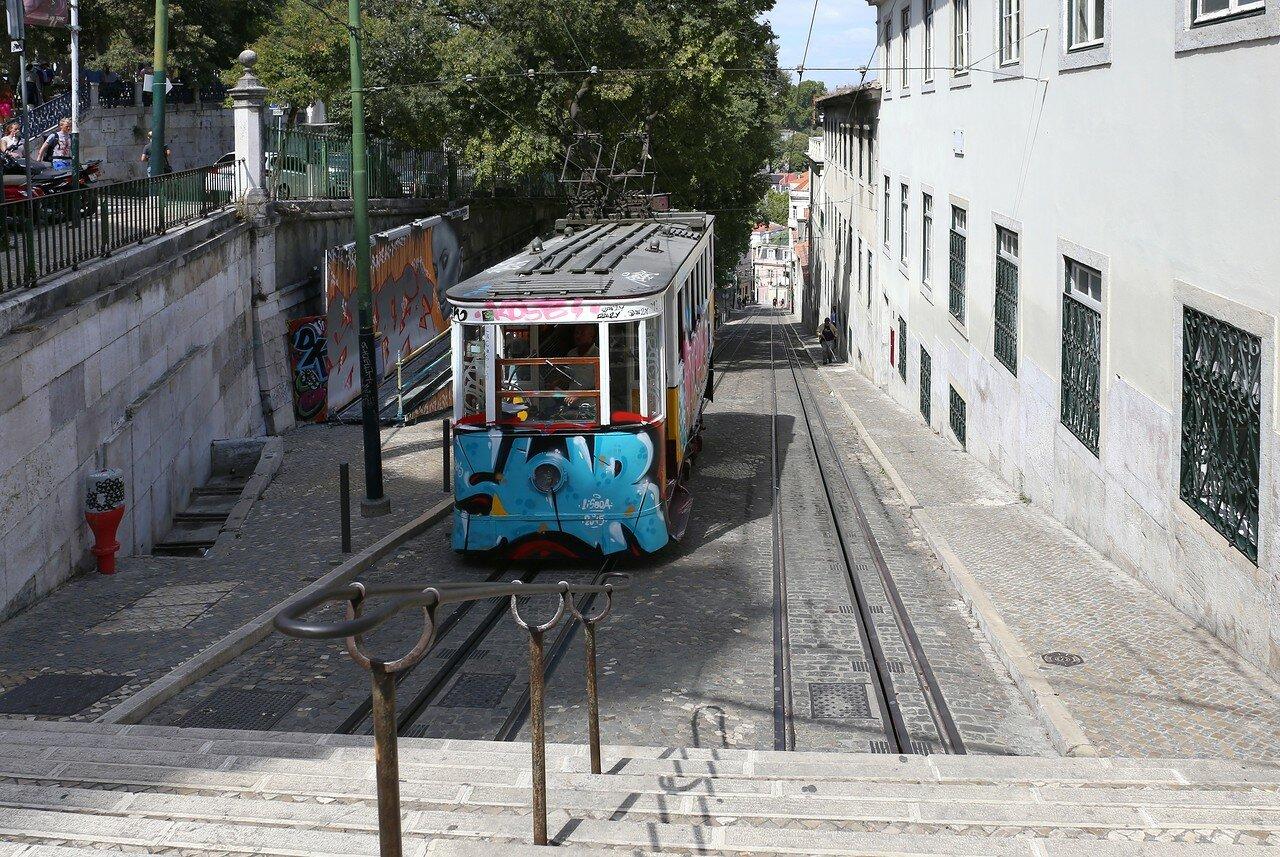Lisbon. The Gloria funicular (Elevador da Glória)