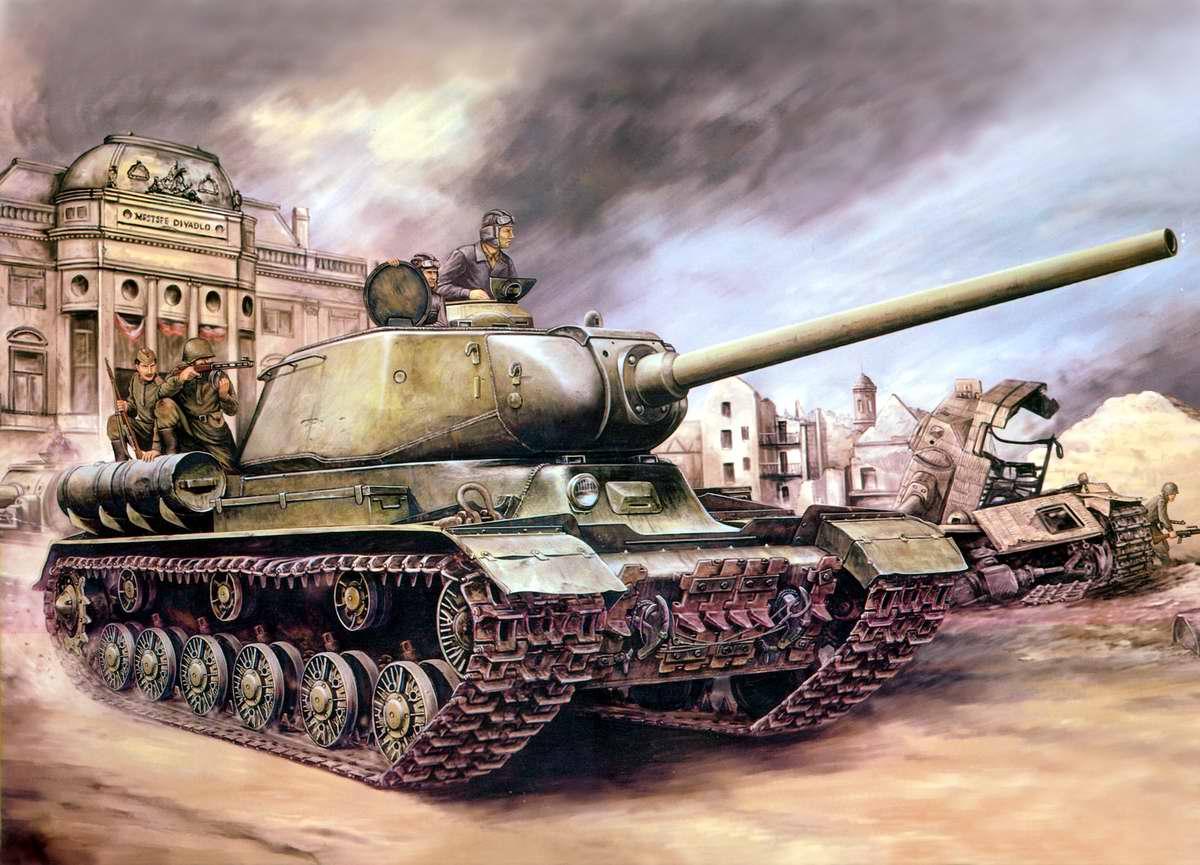 Советский тяжелый танк ИС-1 посреди Берлина