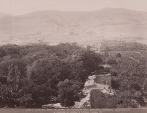 Вид с маяка на городской сад, развалины крепости, православную и армянскую церкви и старый город