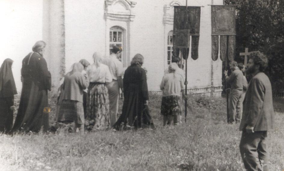 Крестный ход при освящении храма Св. пророка Илии п. Палех. Июль, 1989