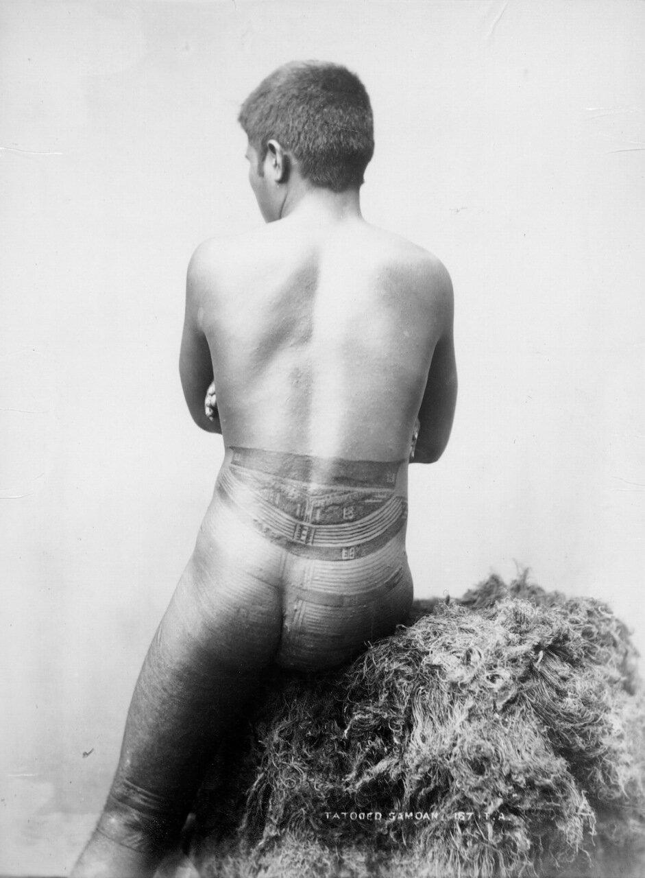 Мужчина с традиционной самоанской татуировкой.  1890-е.