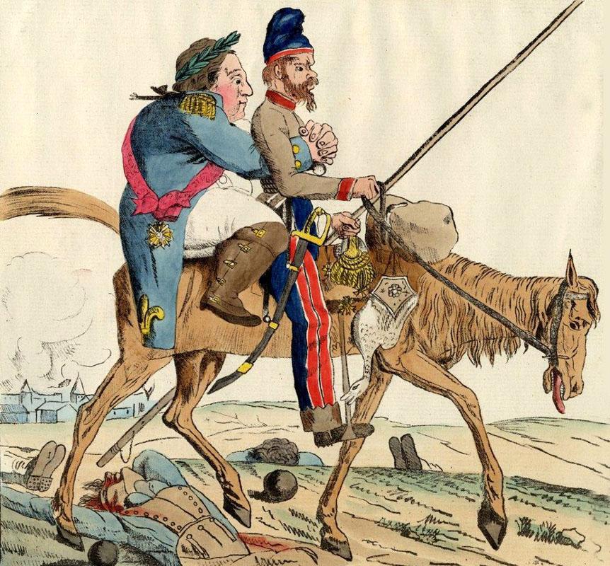 Возвращение Бурбонов во Францию. Французская карикатура, 1814 год.jpg