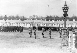 Император Николай II приветствует войска, выстроившиеся для парада.
