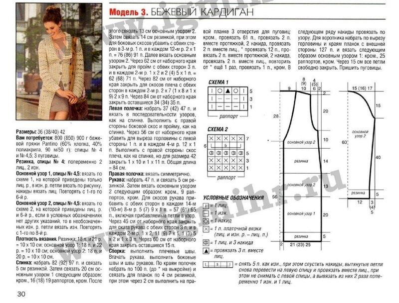 Узоры и схемы для вязания кардигана 79