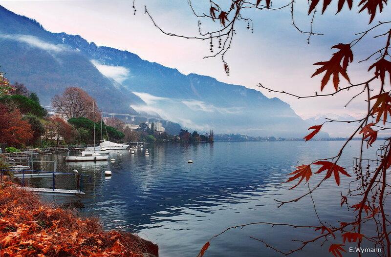 зима на Женевском озере