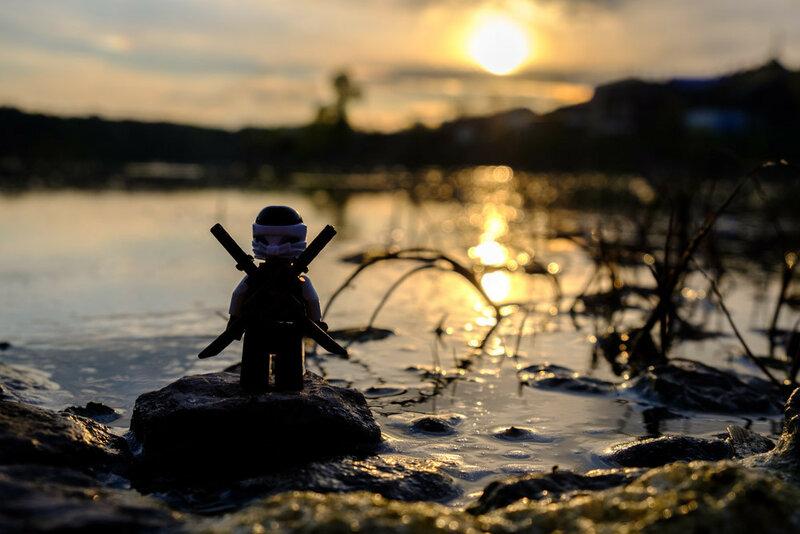 рассвет на болоте в летний день, отражение солнца