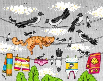 День кошек. Кот на веревке