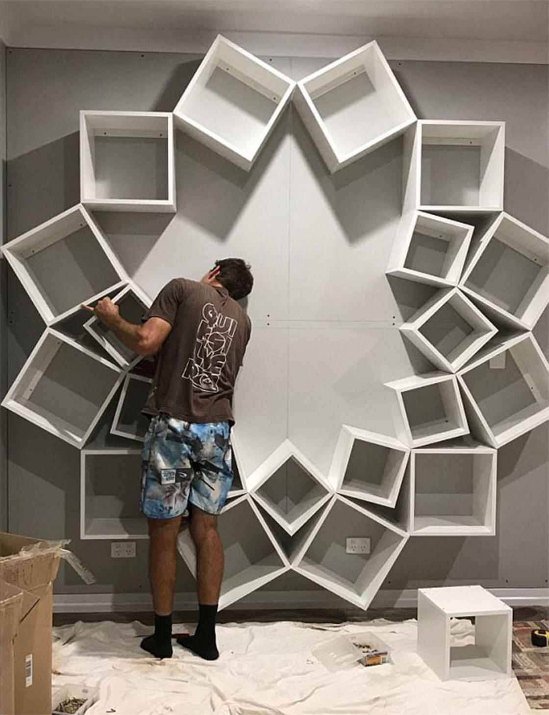 Flower Bookshelf – This couple designed an amazing DIY project